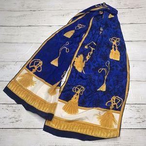 100% Silk Blue + Gold Tassel Vintage Scarf